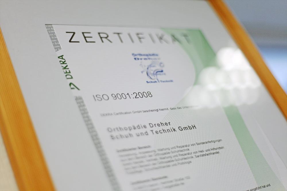 Orthopädie Dreher – Zertifikat