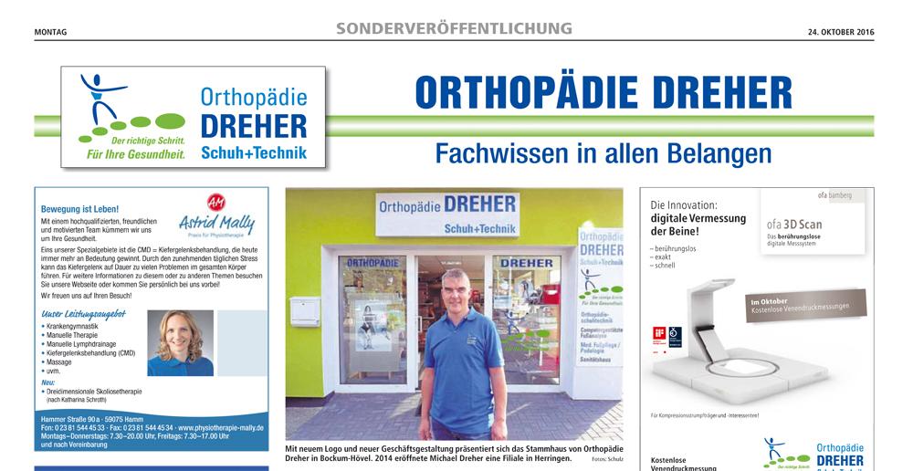 Orthopädie Dreher – Pressetext zu den Aktionstagen 2016