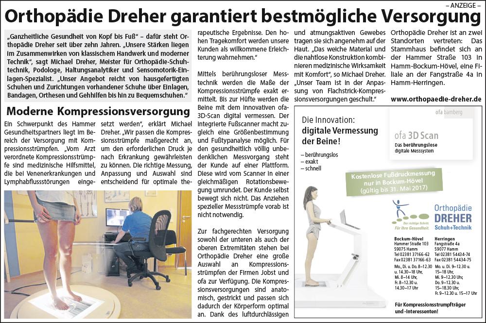 """Orthopädie Dreher – Pressetext """"Orthopädie Dreher garantiert bestmögliche Versorgung"""""""