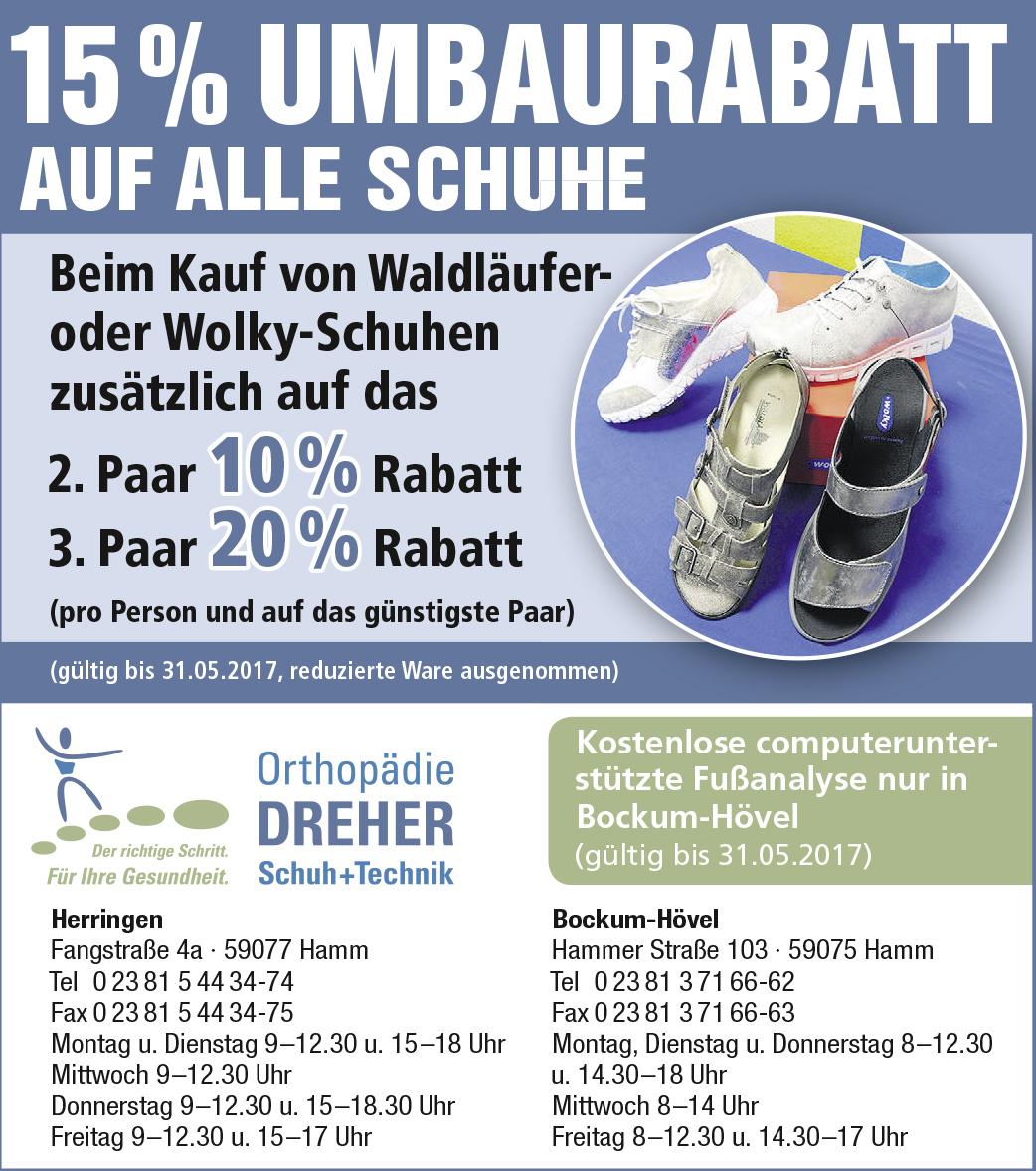 Orthopädie Dreher Schuh+Technik – 15 % Umbaurabatt auf alle Schuhe im April und Mai 2017