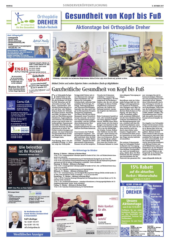 """Orthopädie Dreher – Pressetext """"Ganzheitliche Gesundheit von Kopf bis Fuß"""""""